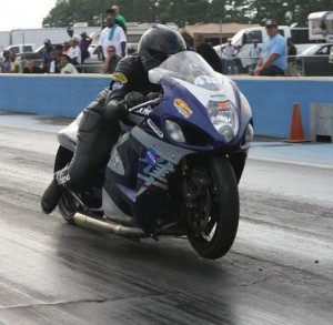 Keisha Armistead racing a modified Suzuki