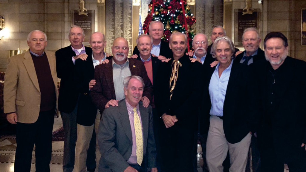 Left to right: Bob Tennyson '72, Jeff McCarthy '71, Eugene Wendelken, Dennis Lepore '72, Robert Sheridan '73, Joe Mullane '70, Carl Miranda '71,  William Burns '73, Doug Smith '71, Dickie Palazzo '72, Michael Neenan '71, Victor Hogan '73;  kneeling: William Tully '73