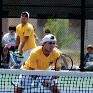 Doubles partners Alex Theiler (serving) and Alberto Barroso-Campos (front) competing against Armstrong State