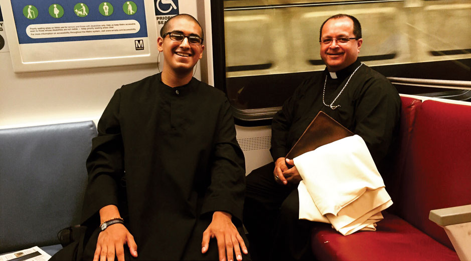 Right: Brother Lucius Amarillas and Abbot Isaac J. Camacho, OSB, in Washington, DC