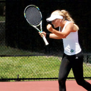 Pauline Helgesson after clinching the second match against Southwest Baptist University