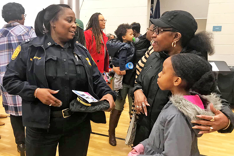 Captain Michele Naughton at Richard Bowling Elementary School's Black History Month presentation on March 5, 2020